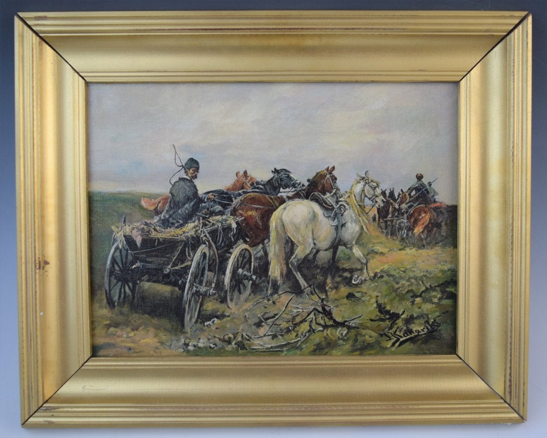 """J. Konarski (XIX wiek) """"Pejzaż z chłopskim wozem"""", źródło: Black River Auction"""