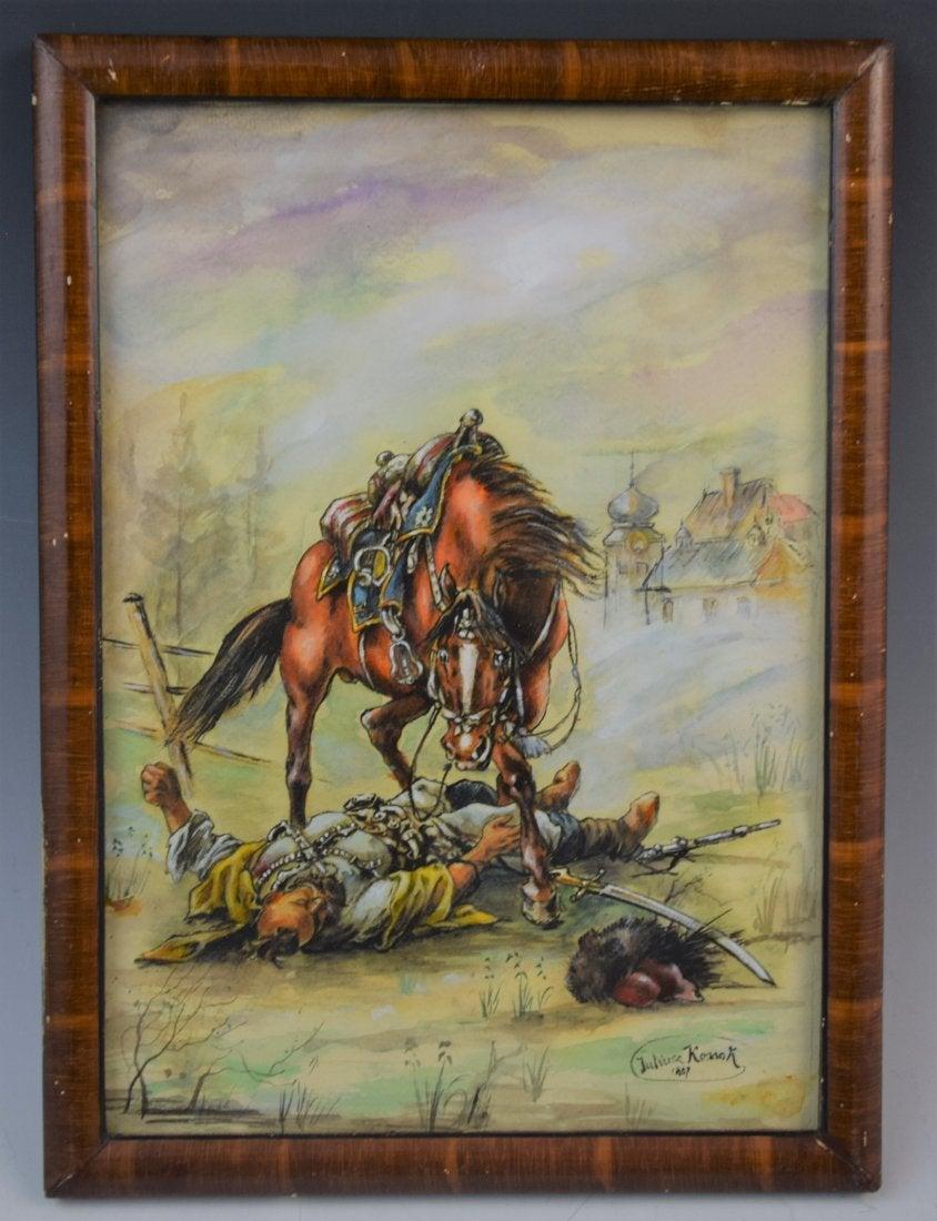 """Juliusz Kossak (1824-1899) """"Poległy towarzysz broni"""", źródło: Black River Auction"""