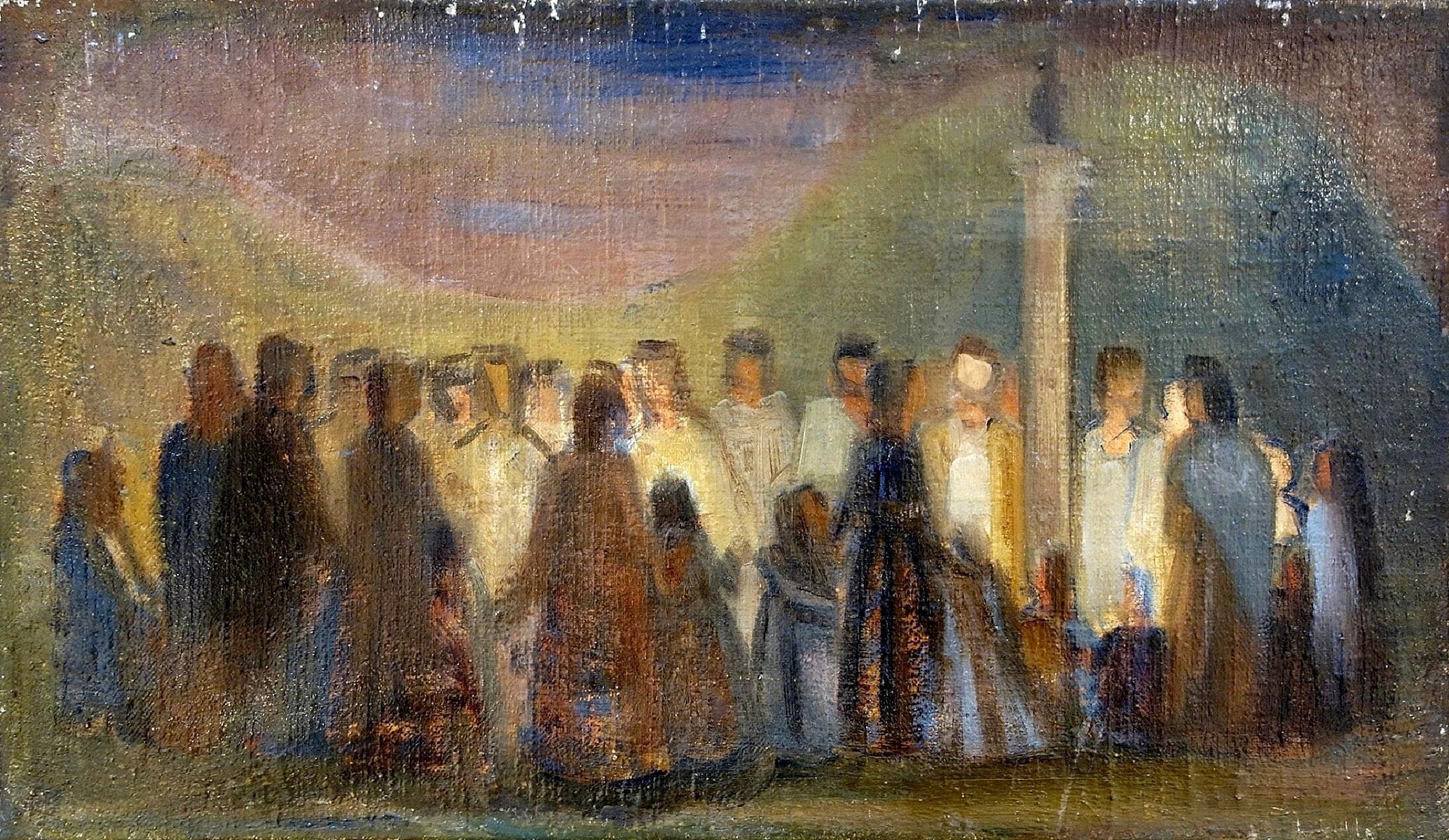 """Ludwik Lille (1897-1957) """"Wieczorna modlitwa"""", źródło: Yair Art Gallery"""