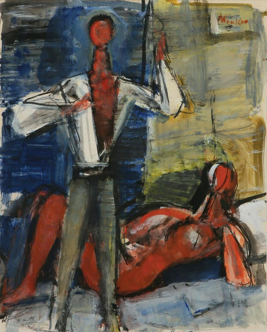 "Zygmunt Menkes (1894 - 1962) ""Artysta i modelka"", źródło: Tiroche Auction House"