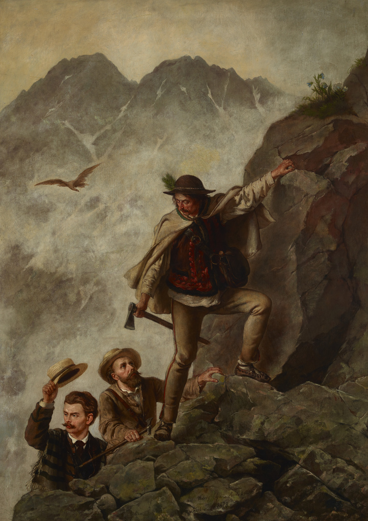 """Walery Eljasz Radzikowski """"Przewodnik i turyści w Tatrach"""", 1878 rok, źródło: Muzeum Narodowe w Krakowie"""
