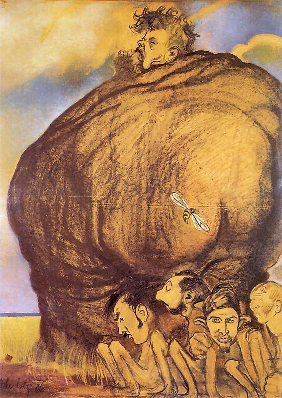 """Kazimierz Sichulski """"Karykatura Jana Stanisławskiego z uczniami"""", 1905 rok, źródło: Jama Michalika w Krakowie"""