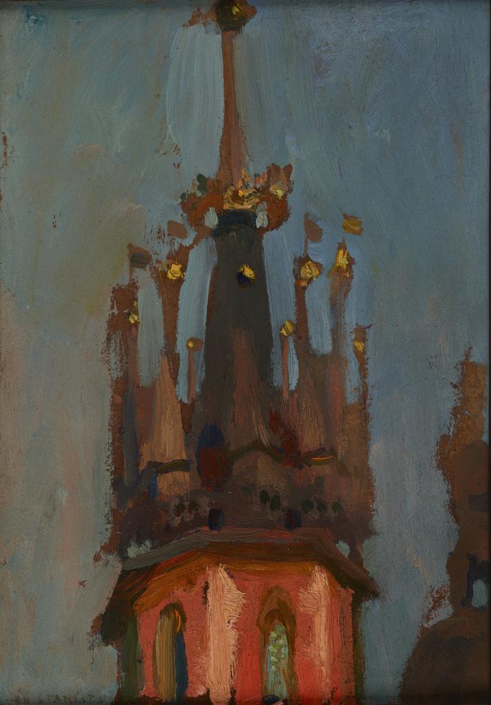 """Jan Stanisławski """"Hełm wieży Mariackiej w Krakowie"""", ok. 1904 roku, źródło: Muzeum Narodowe w Krakowie"""