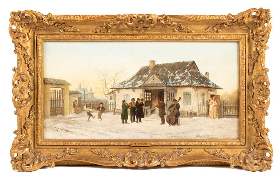 """Franciszek Streitt (1839-1890) """"Wędrowni muzykanci"""", źródło: Dawsons Auctioneers"""