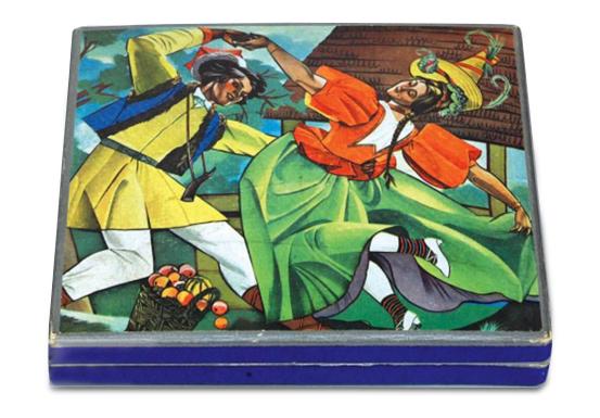 Pudełko na czekoladki wedlowskie z ilustracją projektu Zofii Stryjeńskiej, źródło: Muzeum Narodowe w Krakowie