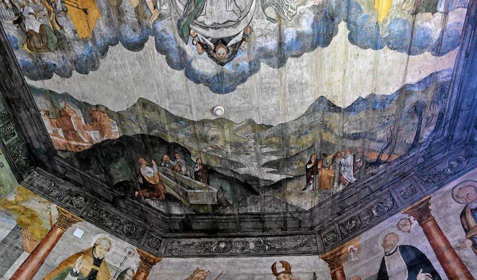 Malowidła w kościele w Trybszu, Tatry w scenie Wniebowzięcia Matki Bożej, 1647 rok, źródło: wyborcza.pl (fot. Marek Podmokły)