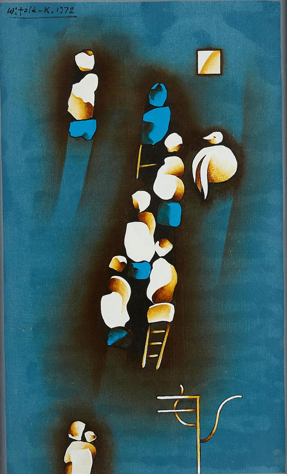 """Witold K (ur. 1932) """"Niebieska kompozycja"""", źródło: Revere Auctions"""