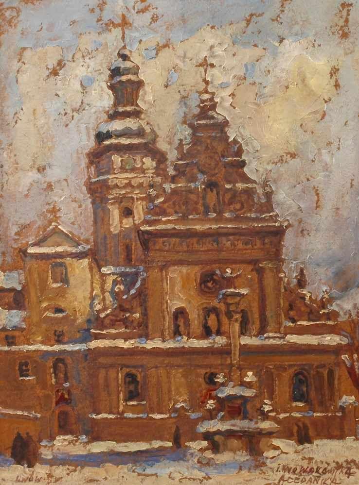 """Irena Nowakowska Acedańska (1906-1983) """"Kościół Bernardynów we Lwowie"""", źródło: Mehlis"""