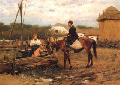 """Józef Brandt (1841-1915) """"Rozmowa przy studni"""", praca autentyczna"""