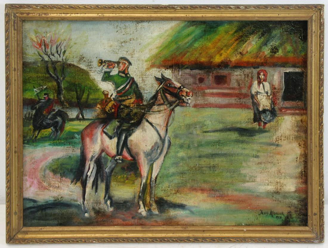 """Jerzy Kossak (1886-1955) """"Trębacz ułanów"""", źródło: Clarke Auction Gallery"""
