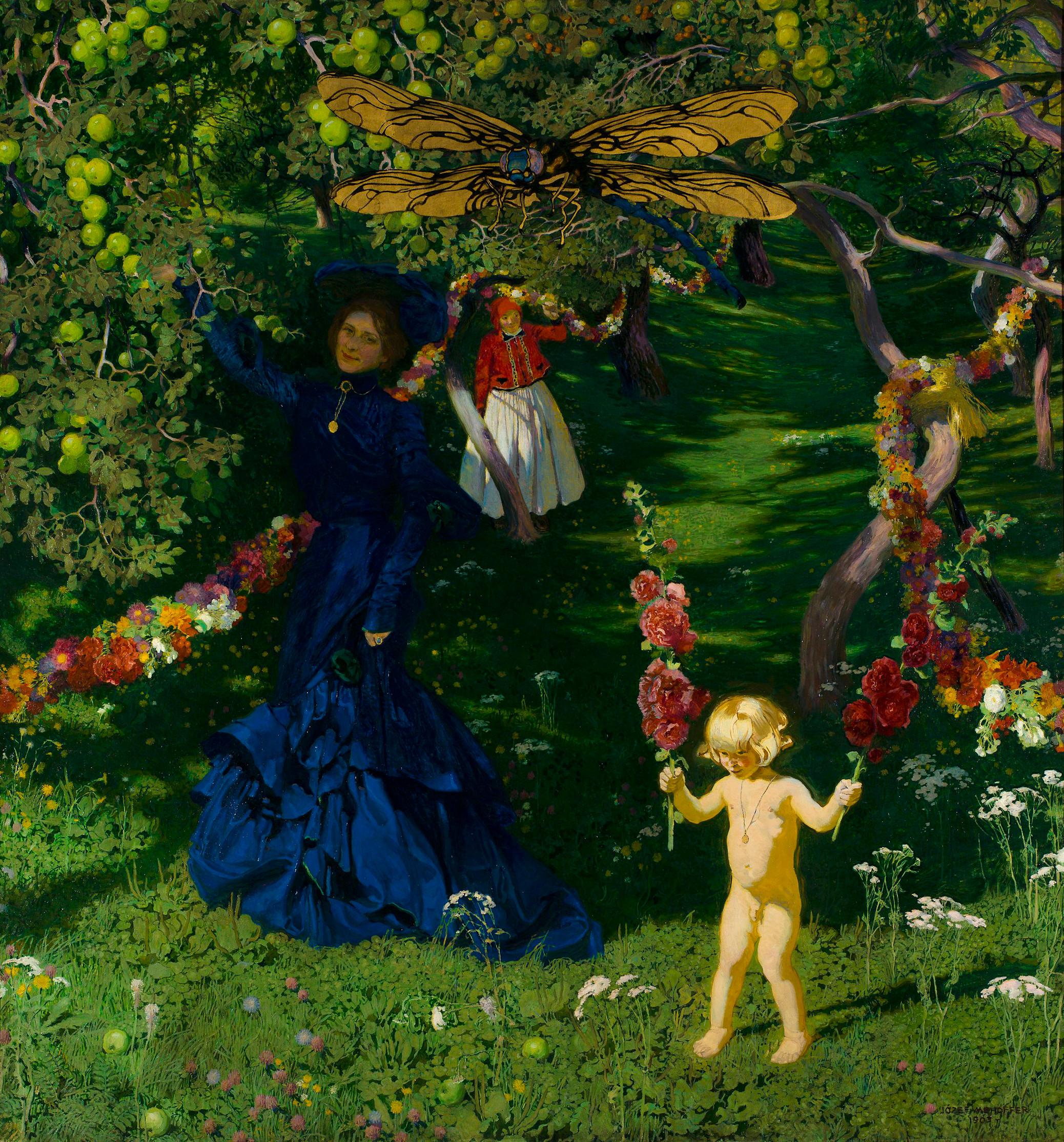 """Józef Mehoffer (1869-1946) """"Dziwny ogród"""", 1903 rok, źródło: Muzeum Narodowe w Warszawie"""