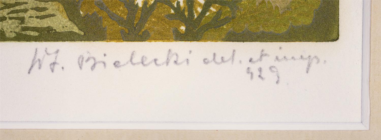 """Oznaczenie literowe """"del et imp"""" (""""delineavit"""" et """"impressit"""") przy odręcznej sygnaturze Władysława Bieleckiego, źródło: Salon Dzieł Sztuki Connaisseur"""