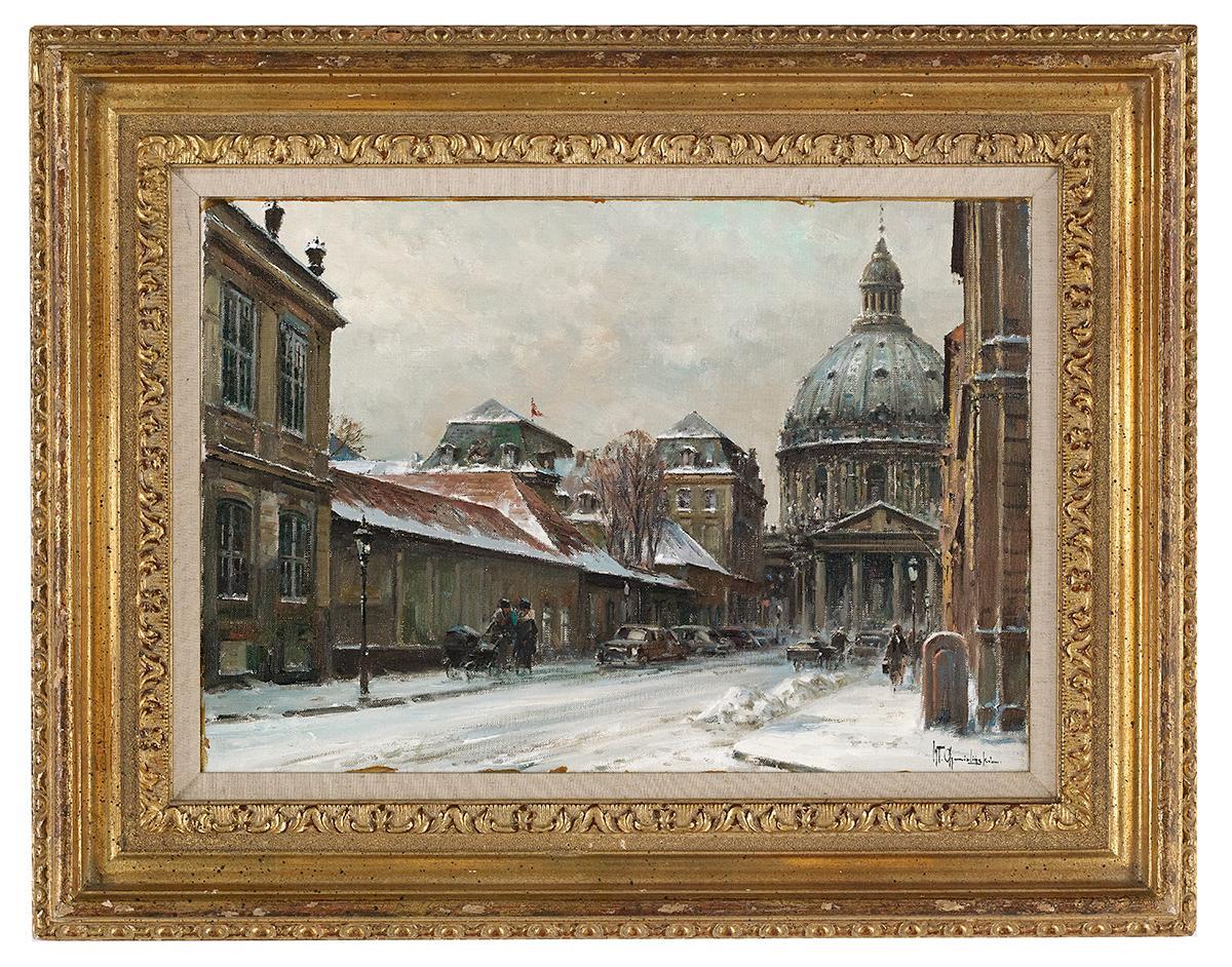 """Władysław Chmieliński (1911-1979) """"Warszawa zimą"""", źródło: New Orleans Auction Galleries"""