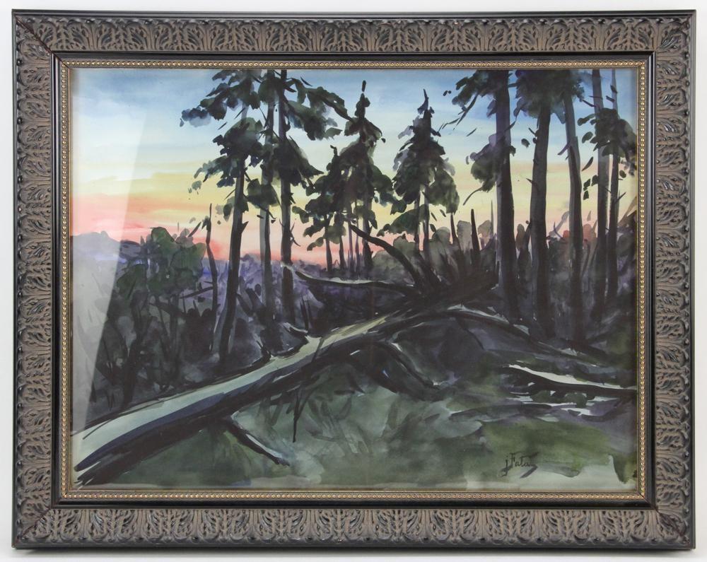 """Julian Fałat (1853-1929) """"Powalone drzewo"""", źródło: Kaminski Auctions"""