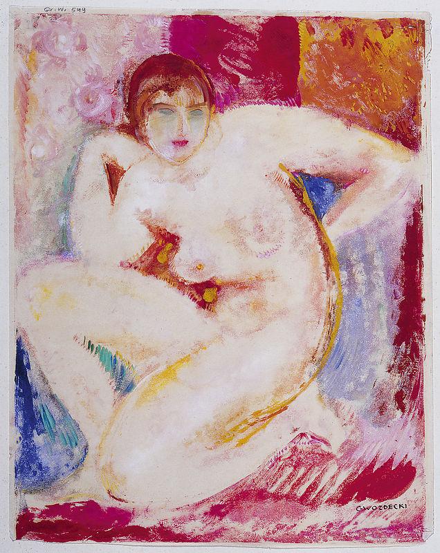 """Barwna monotypia autorstwa Gustawa Gwozdeckiego """"Akt kobiecy"""", około 1928 roku, źródło: Muzeum Narodowe w Warszawie"""