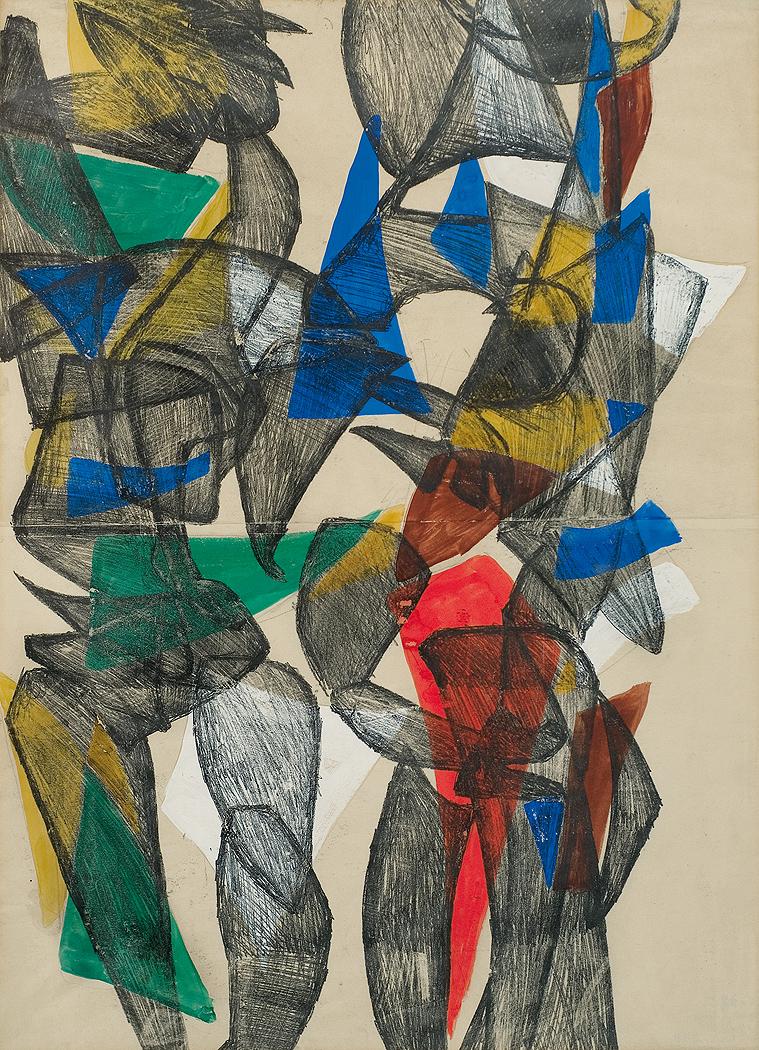 """Monotypia podmalowana temperą autorstwa Marii Jaremy """"Postacie"""", około 1957 roku, źródło: Agra-Art"""