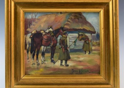 """Jerzy Kossak (1886-1955) """"Ułani przed chatą"""". źródło: Black River Auction"""