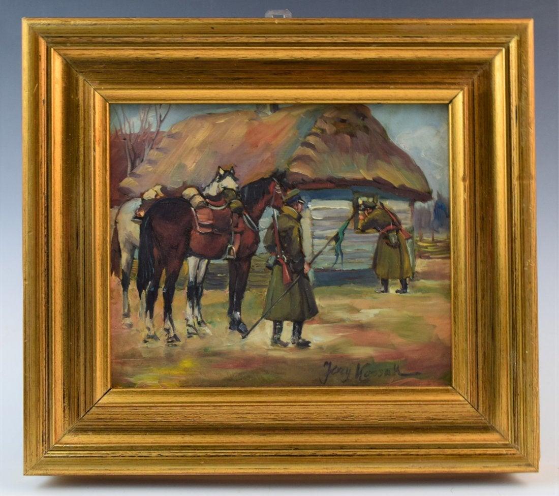 """Jerzy Kossak (1886-1955) """"Ułani przed chatą"""", źródło: Black River Auction"""
