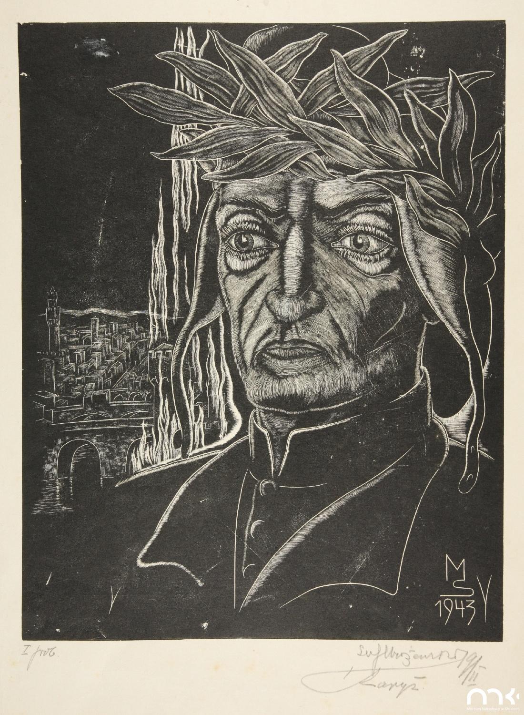 """Próbna odbitka drzeworytu Stefana Mrożewskiego """"Dante Alighieri"""", 1943 rok, stan 1, źródło: Muzeum Narodowe w Kielcach"""
