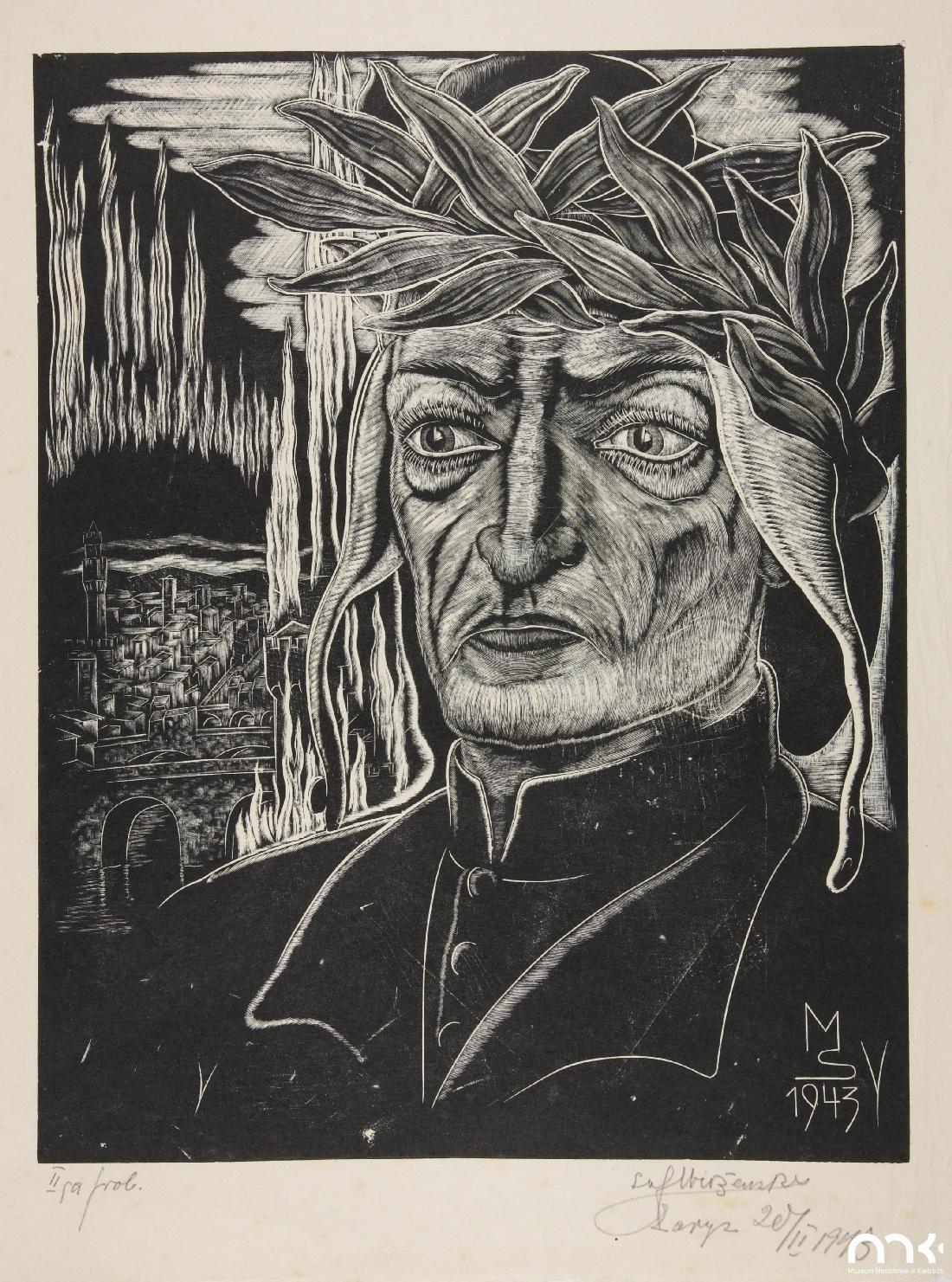 """Próbna odbitka drzeworytu Stefana Mrożewskiego """"Dante Alighieri"""", 1943 rok, stan 2, źródło: Muzeum Narodowe w Kielcach"""