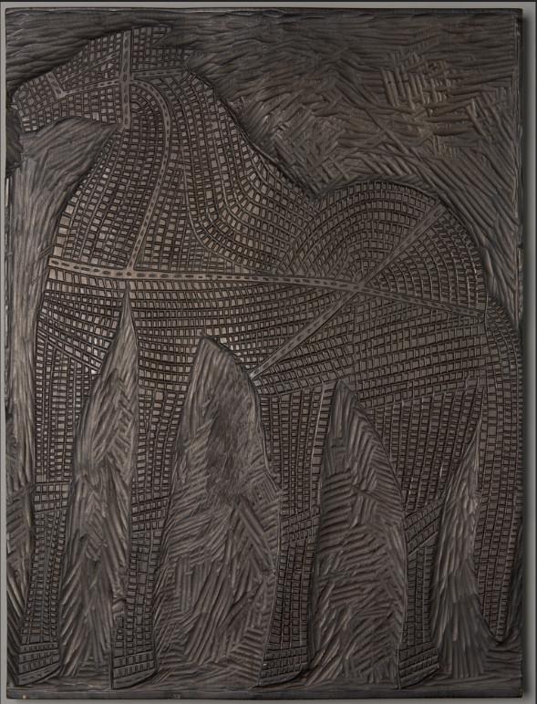 """Klocek drzeworytniczy pracy """"Czarny koń"""" autorstwa Jerzego Panka, 1959 rok, źródło: Muzeum Narodowe w Krakowie"""