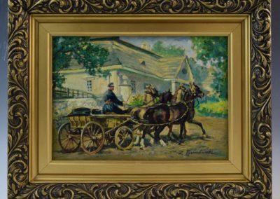 """Zygmunt Rozwadowski (1870-1950) """"Czwórka przed dworem"""", źródło: Black River Auction"""