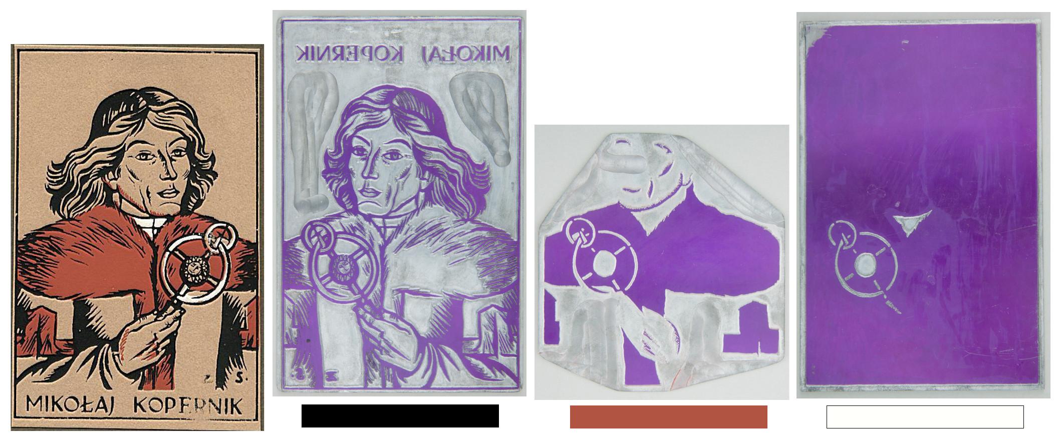 """Matryce dla poszczególnych kolorów cynkorytu oraz finalna grafika autorstwa Zofii Stryjeńskiej """"Mikołaj Kopernik"""", po 1920 roku, źródło: Muzeum Narodowe w Krakowie (matryce) / Biblioteka Uniwersytecka UMK"""