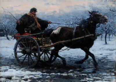 """Alfred Wierusz Kowalski (1849-1915) """"Pocztylion"""", źródło:  Polswiss Art"""