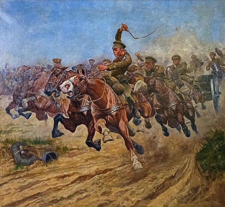"""Wojciech Kossak (1856-1942) PRZYPISYWANY """"Szarża kawalerii"""", źródło: Hill Auction Gallery"""