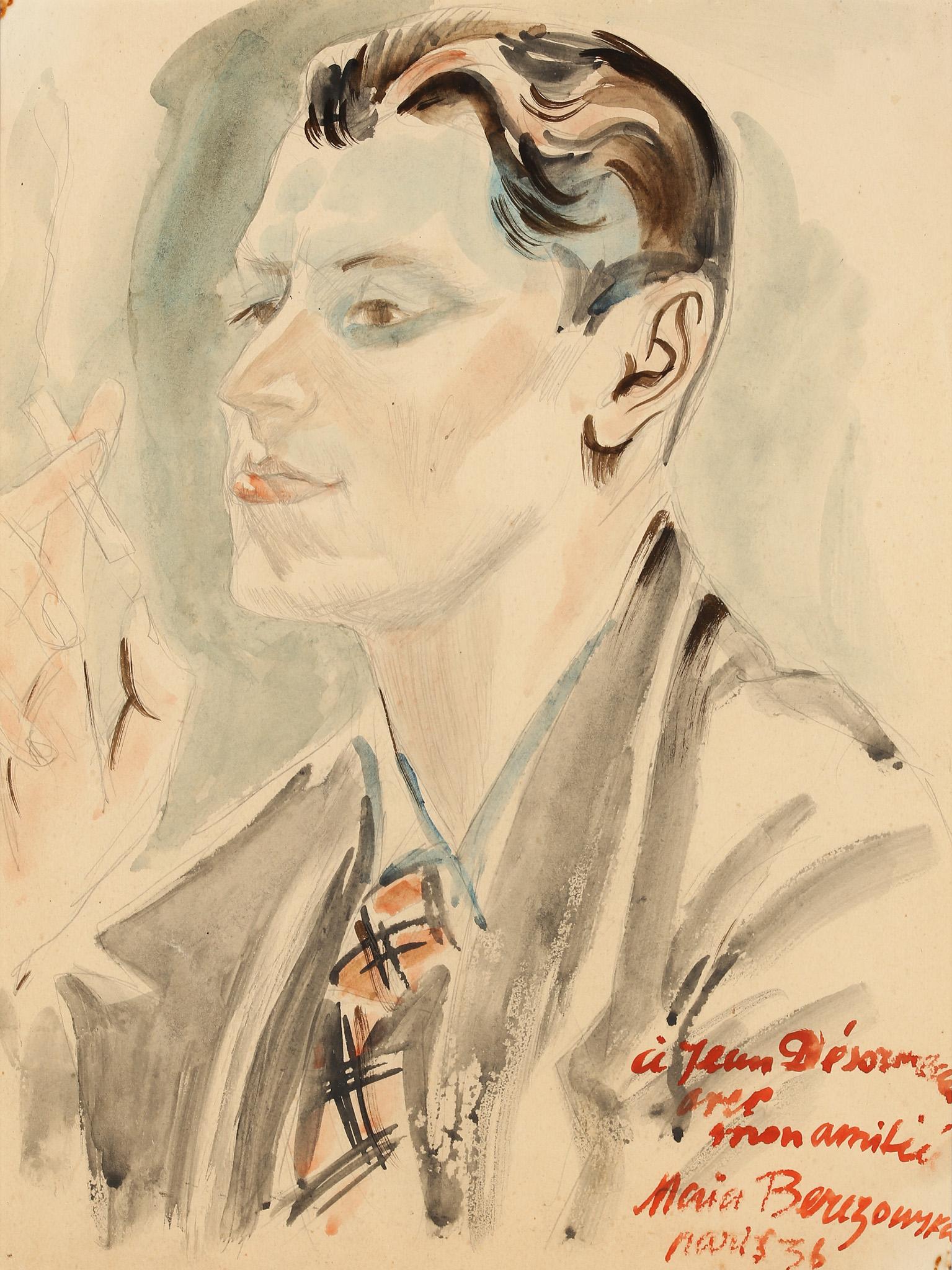 "Maja Berezowska (1893 - 1978) ""Portret z papierosem"", 1936 rok, źródło: Salon Dzieł Sztuki Connaisseur"