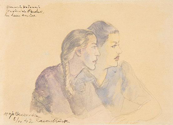 """Maja Berezowska (1893 - 1978) """"Portret z obozu w Ravensbruck - Danusia i Stasieńcia"""", 1942 rok, źródło: malmo.se"""