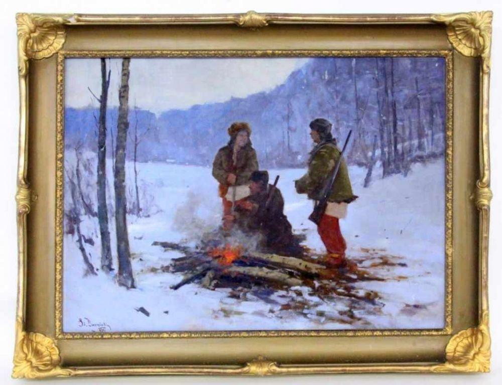 """Stanisław Daczyński (1856-1930) """"Myśliwi przy ognisku"""", źródło: Sigalas Auktion"""