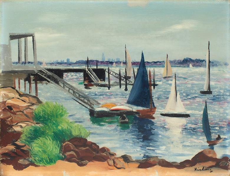 """Mojżesz Kisling (1891-1953) """"Żaglówki"""", źródło: Versailles Enchères"""