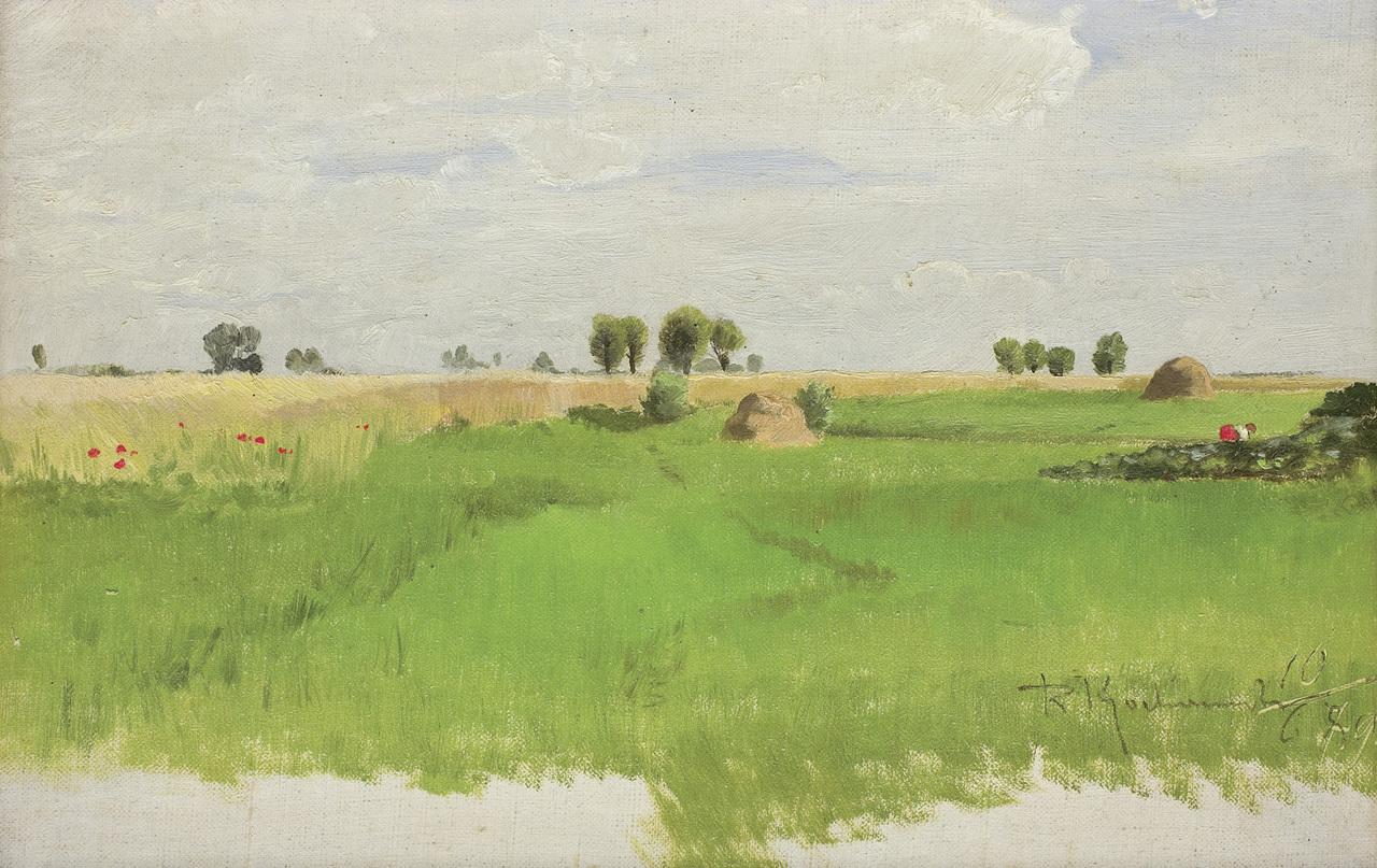 """Roman Kochanowski (1857 - 1945) """"Pejzaż z makami"""", 1890 rok, źródło: Agra-Art"""