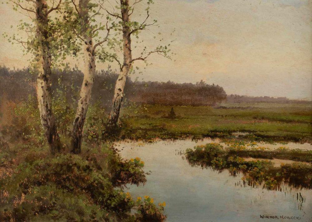 """Wiktor Korecki (1890-1980) """"Brzozy nad strumieniem"""", źródło: Hargesheimer Kunstauktionen"""