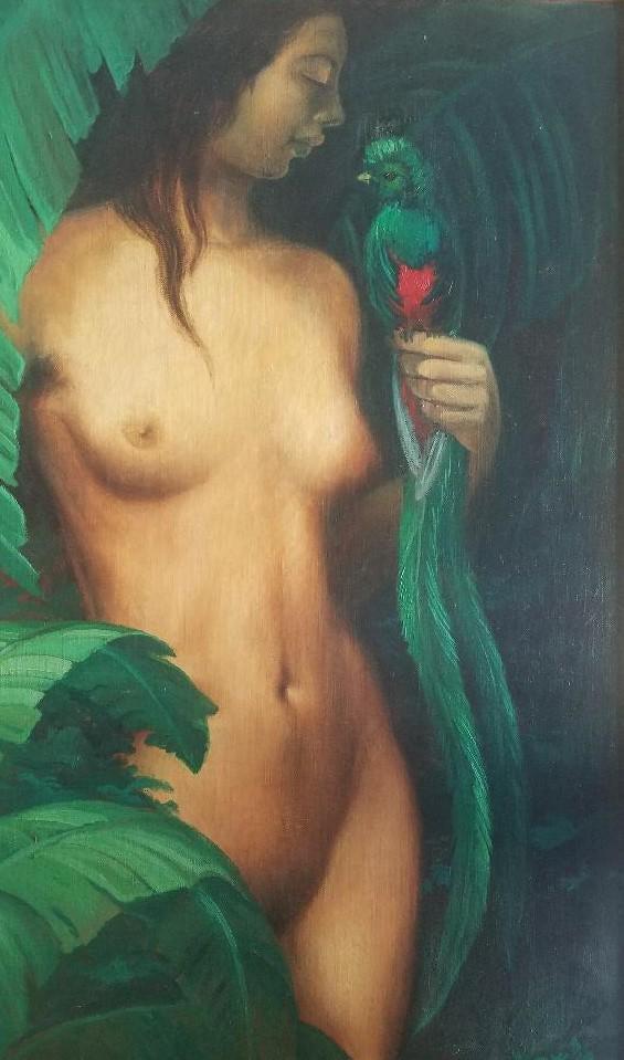 "Tamara Łempicka (1898-1980) ""Akt z papugą"", źródło: Carstens Galleries"