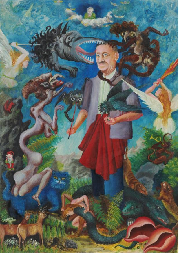 """Teofil Ociepka (1891-1978) """"Autoportret"""", 1960 rok, źródło: Muzeum Etnograficzne w Warszawie"""