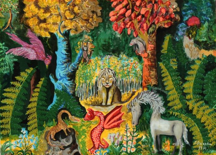 """Teofil Ociepka (1891-1978) """"Dżungla"""", 1964 rok, źródło: Muzeum Okręgowe im. Leona Wyczółkowskiego w Bydgoszczy"""