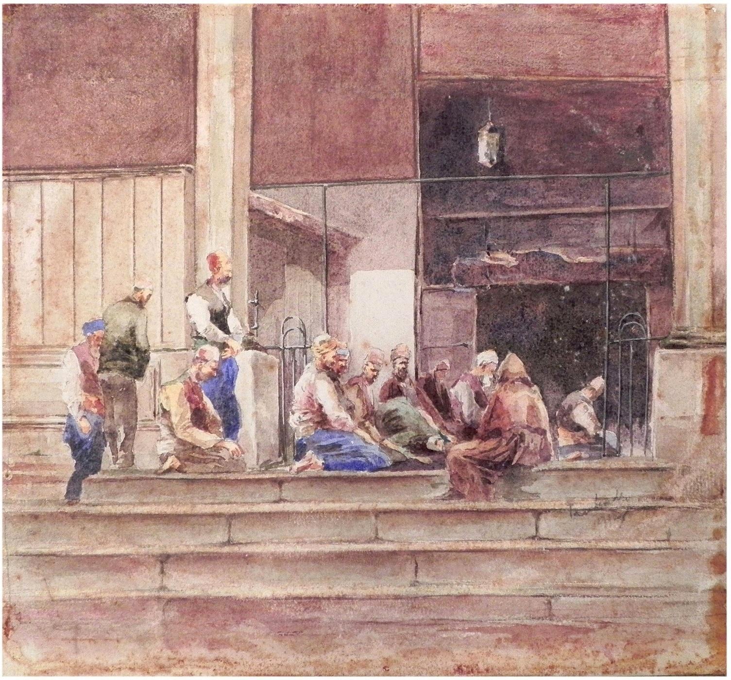 """J. Pawlikiewicz (czynny ok. 1894-1930) """"Modlitwa przed meczetem w Konstantynopolu"""",  źródło: Yair Art Gallery"""