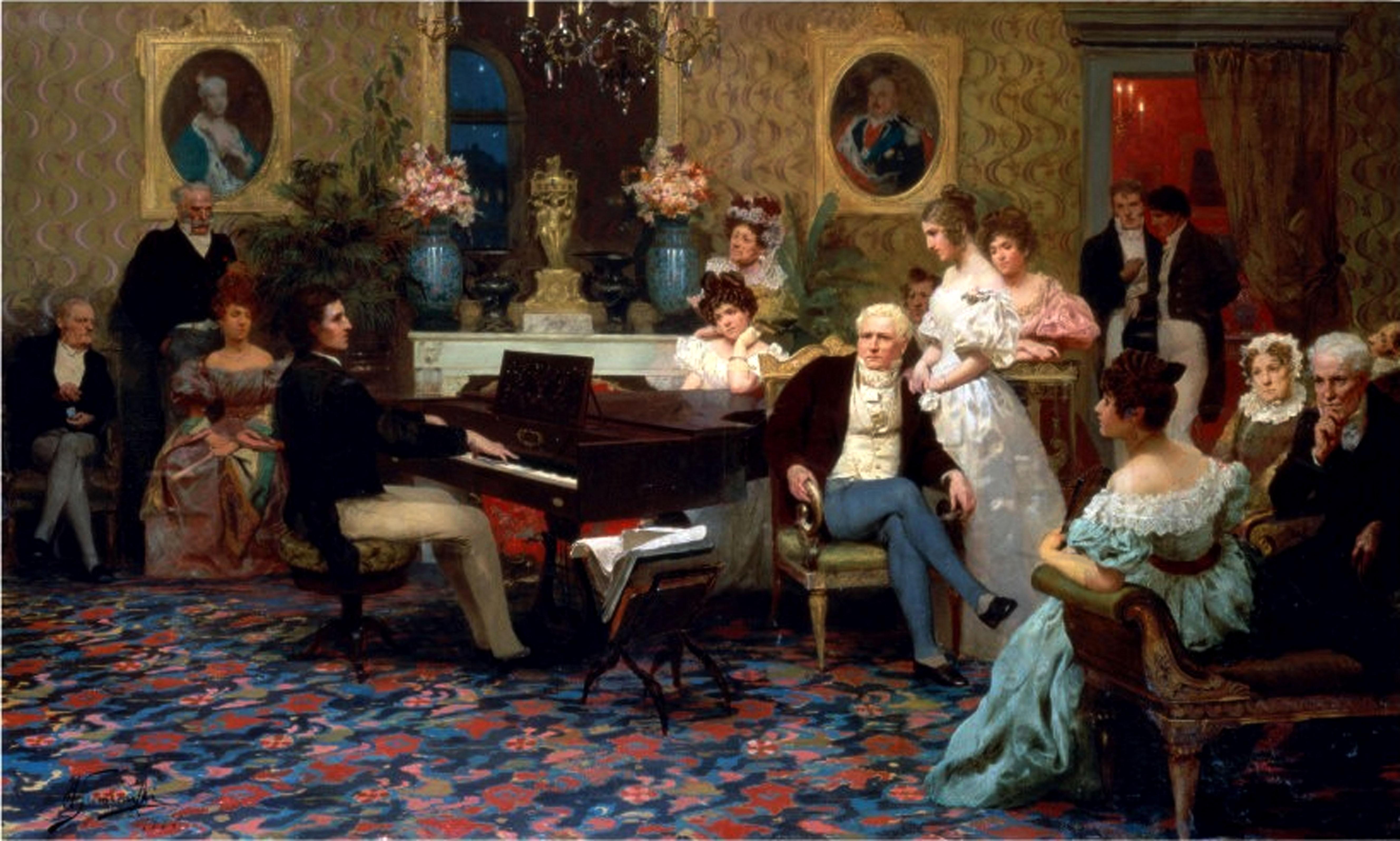 """Henryk Siemiradzki (1843-1902) """"Fryderyk Chopin w salonie Księcia Antoniego Radziwiłła w 1829 roku"""", źródło: Muzeum Instrumentów Muzycznych w Poznaniu"""