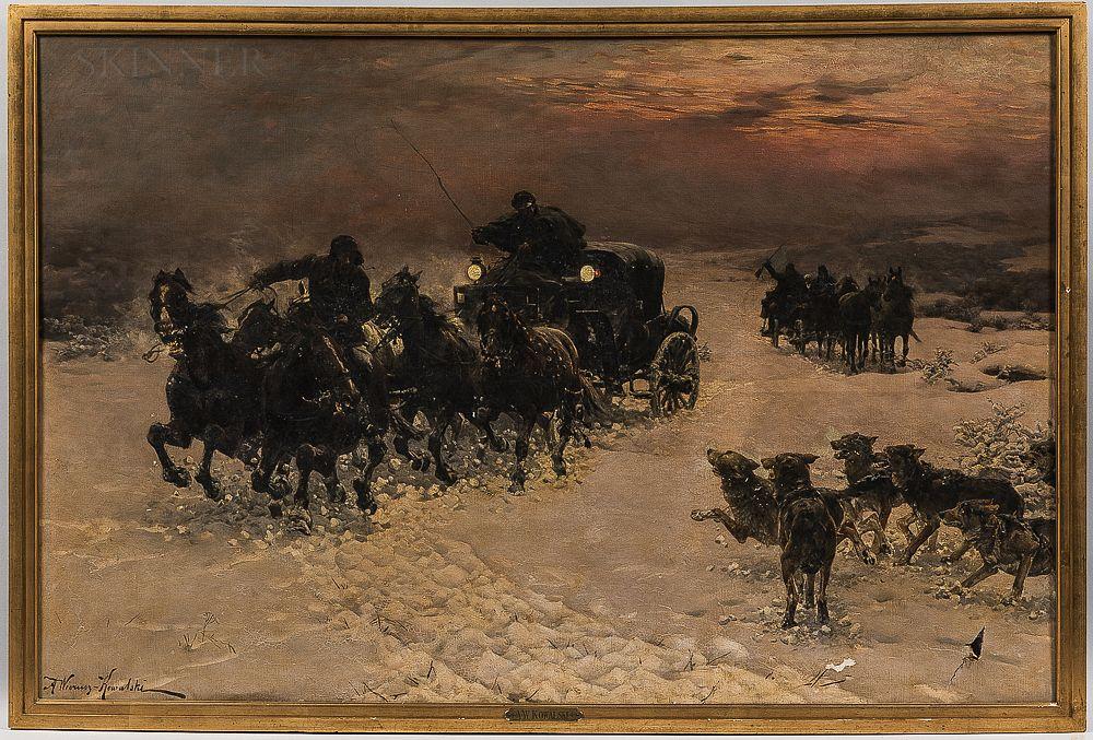 """Alfred Wierusz-Kowalski (1849-1915) """"Ucieczka przed wilkami"""", źródło: Skinner"""