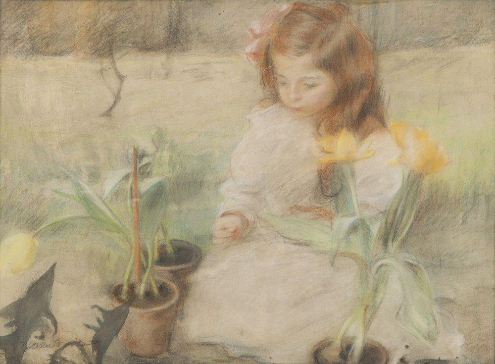 """Teodor Axentowicz (1859 - 1938) """"Portret córki w ogrodzie"""", źródło: Desa Unicum"""