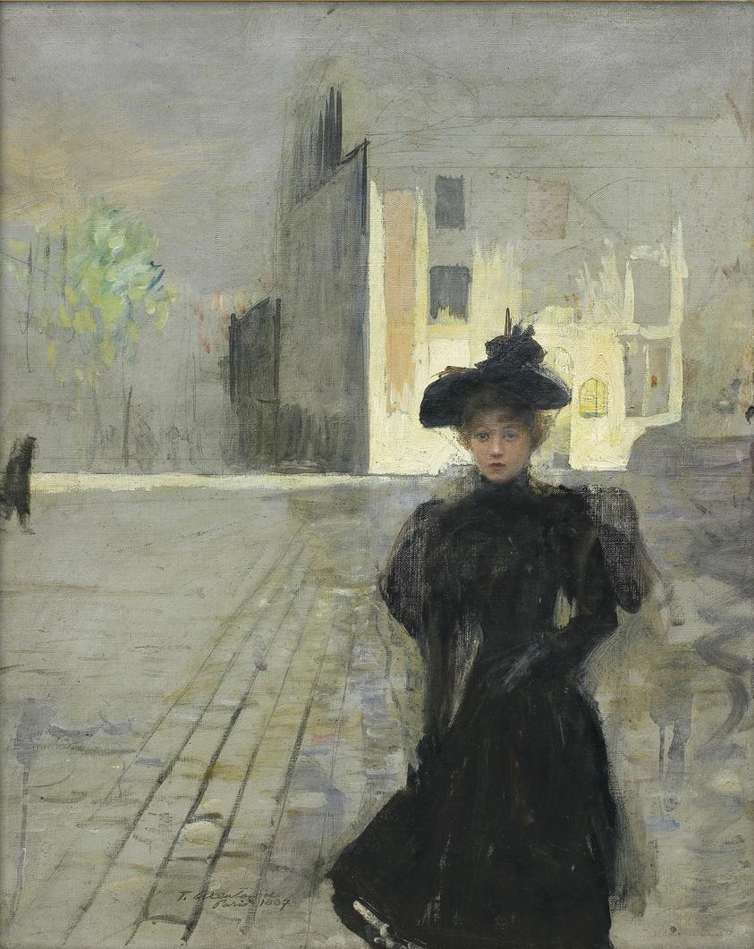 """Teodor Axentowicz (1859 - 1938) """"Samotna w mieście"""", 1887 rok, źródło: Agra-Art"""