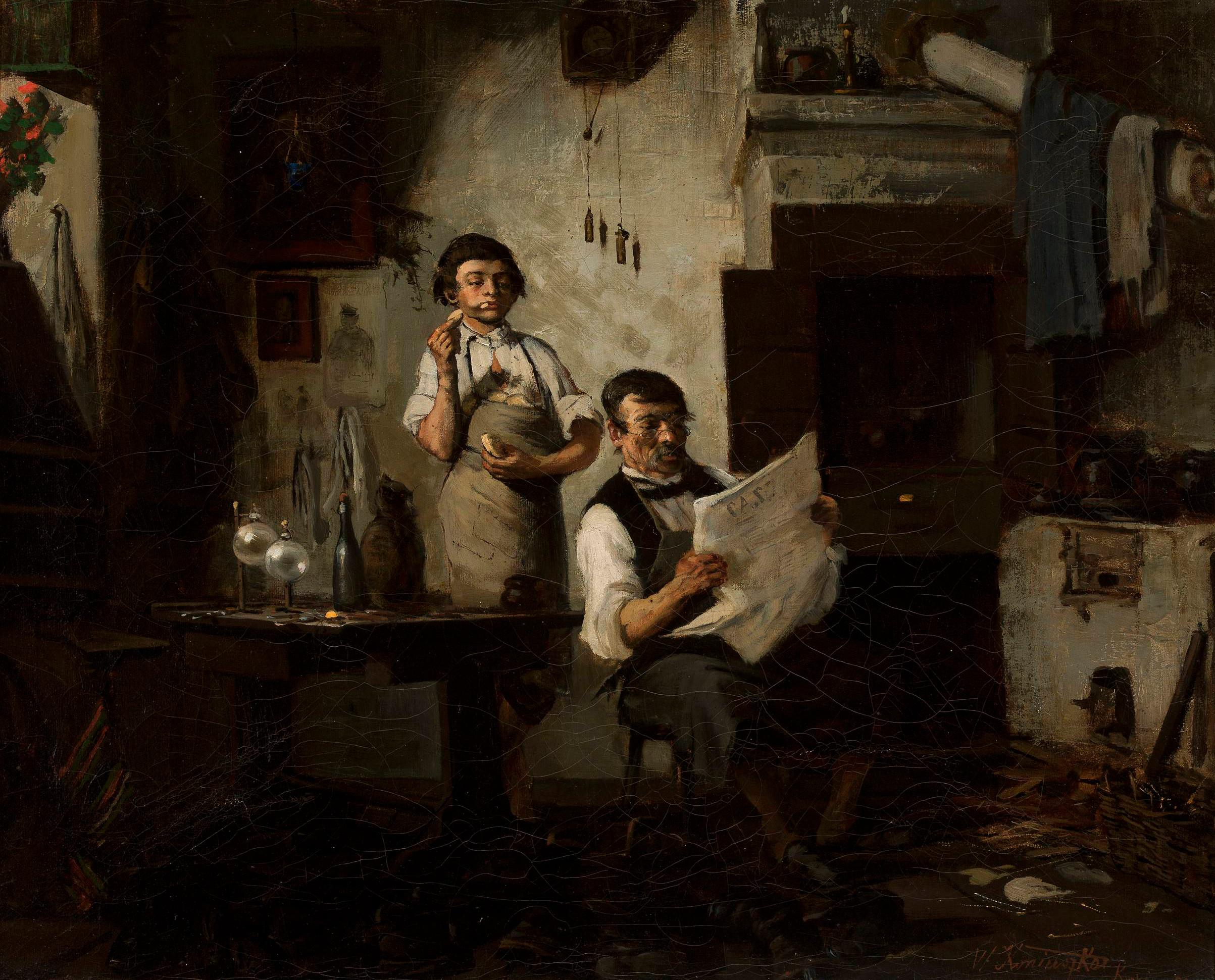 """Wacław Koniuszko (1854-1900) """"Czytanie Czasu (Szewski poniedziałek)"""", 1881 rok, źródło: Muzeum Narodowe w Warszawie"""