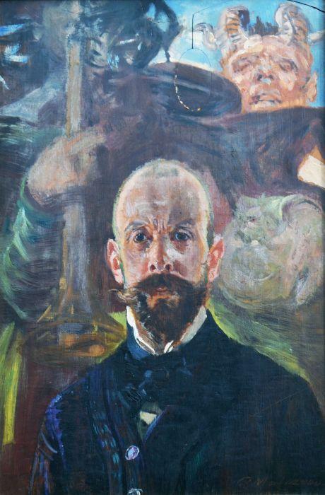 """Jacek Malczewski (1854-1929) """"Autoportret z faunem"""", źródło: McKenzies Auctioneers"""