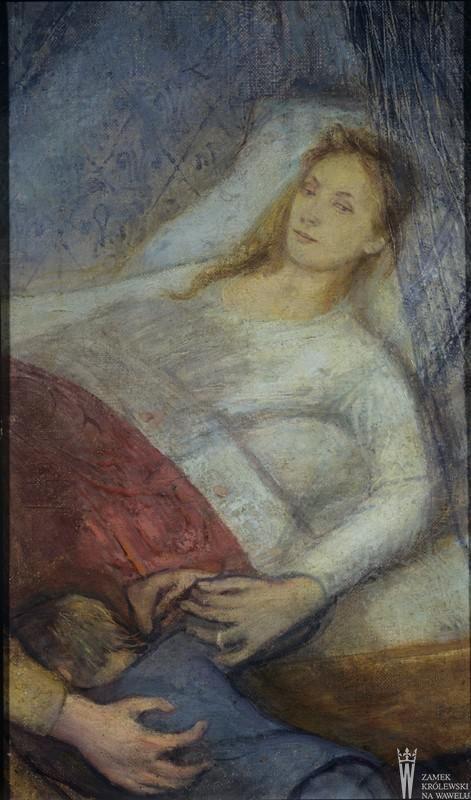 """Stanisław Wyspiański (1869-1907) """"Śmierć matki"""", 1894 rok, źródło: Zbiory Zamku Królewskiego na Wawelu"""