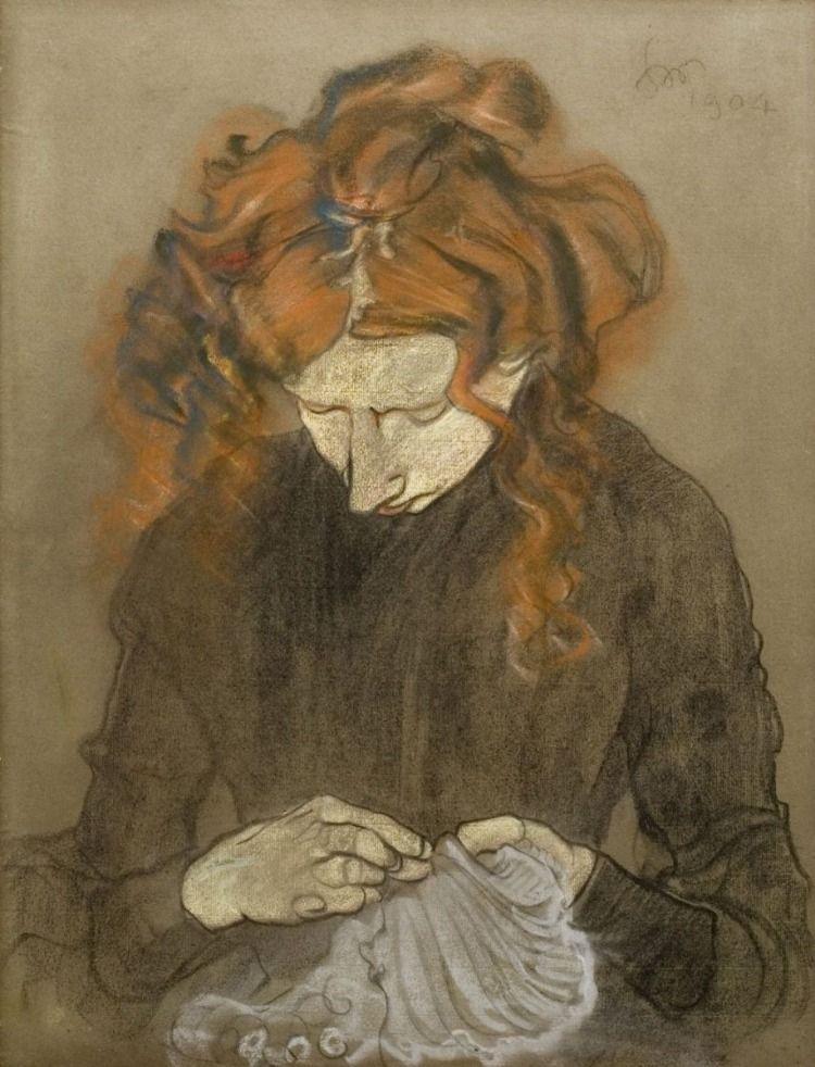 """Stanisław Wyspiański (1869-1907) """"Irena Solska przy szyciu"""", 1904 rok, źródło: Muzeum Narodowe w Gdańsku"""
