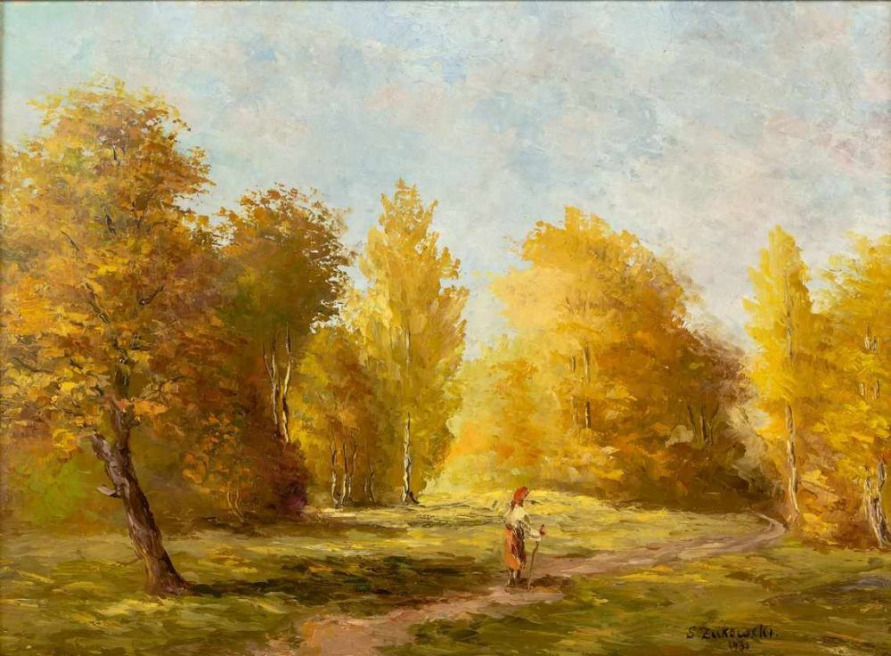 """Stanisław Żukowski (1873-1944) """"Pejzaż jesienny"""", źródło: Auktionscontor Frank Peege"""