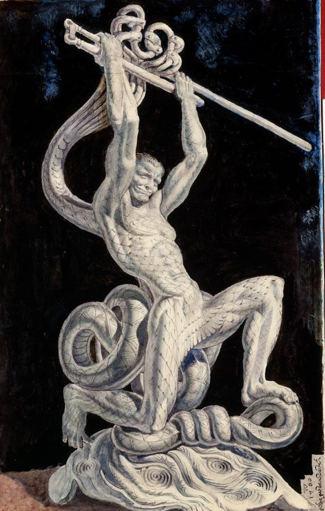 """Stanisław Szukalski (1893-1987), projekt rzeźby """"Młocarz"""", 1980 rok, źródło: szukalski.com"""