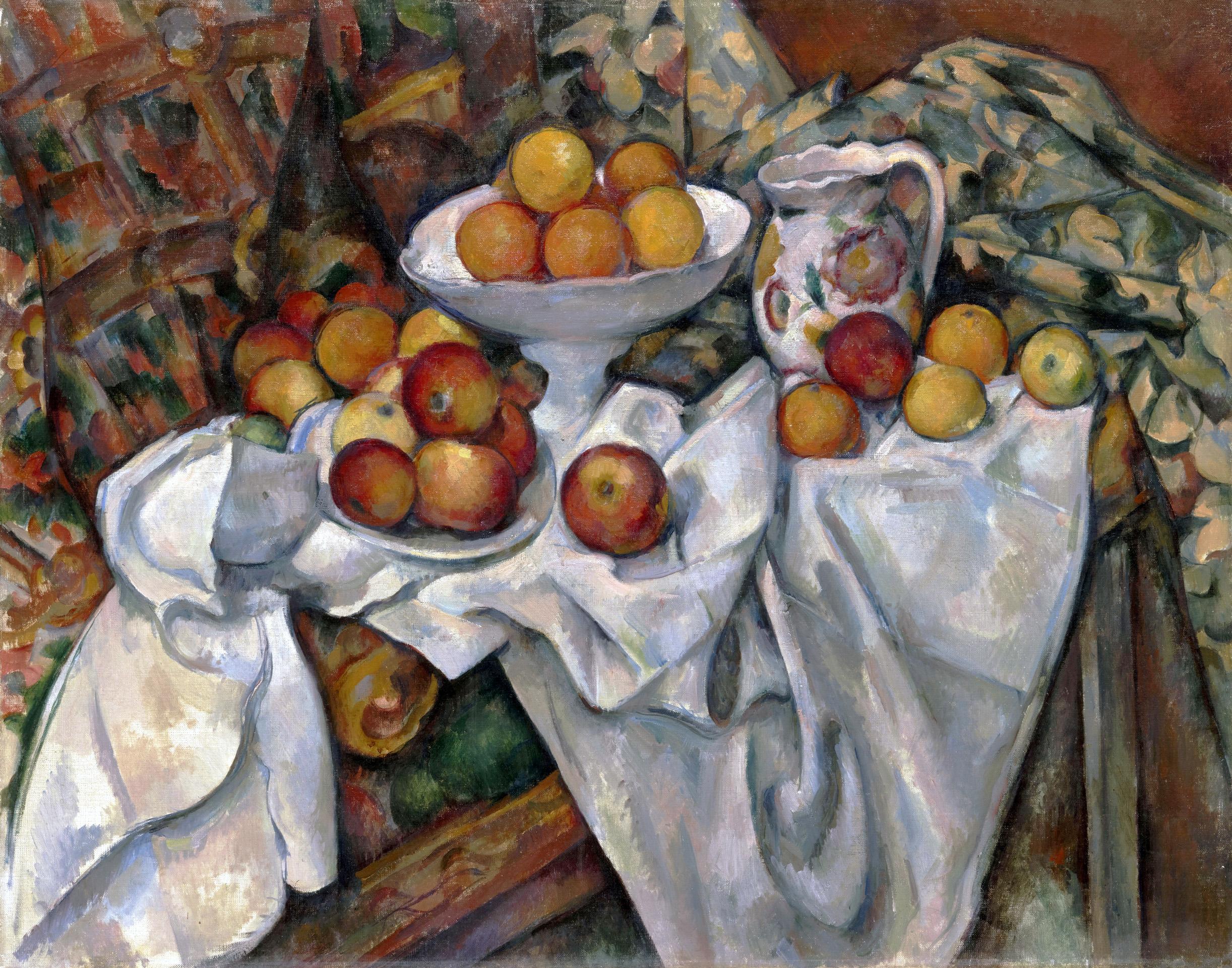 """Paul Cézanne (1839 - 1906) """"Martwa natura z jabłkami i pomarańczami"""", lata 1895-1900, źródło: Musée d'Orsay"""